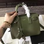 YSL 466283-3 名媛必備nano sac de jour軍綠色原版牛皮手提單肩包