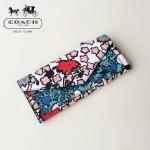 COACH-57680 新品混合YANKEE花朵絲印花朵拼色系列新款女式長款錢包