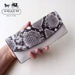 COACH-57592 新款時尚潮流女士頭層牛皮信封翻蓋長款錢夾