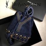YSL 454072-2 歐美朋克風鉚釘裝飾藍色原版磨砂皮單肩斜挎包水桶包
