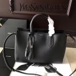 YSL 454229-3 專櫃同步黑色原版牛皮搭配流蘇掛飾手提單肩包