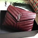 YSL 459749-3 時尚百搭棗紅色原版羊皮大容量單肩斜挎包