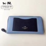 COACH-57605-2 全新時尚新款手掌紋拼色全皮女士長款拉鏈錢包