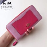 COACH-57605 全新時尚新款手掌紋拼色全皮女士長款拉鏈錢包