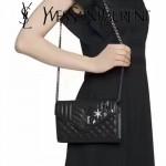 YSL 471501 專櫃新品鑽石徽章裝飾MONOGRAM黑色原版羊皮單肩斜挎包晚宴包