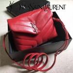 YSL 467072-2 專櫃同步新款棗紅色原版小牛皮單肩斜挎包翻蓋包