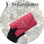 YSL 437469-9 人氣熱銷新款桃紅色原版牛皮信封式長款錢包