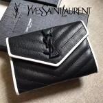 YSL 447954-3 名媛必備黑白配原版魚子醬皮信封式卡包零錢袋
