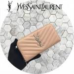 YSL 358094-9 專櫃新品杏色原版魚子醬牛皮原廠五金長款拉鏈錢包