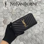 YSL 358094-4 專櫃新品黑色原版羊皮金色原廠五金長款拉鏈錢包