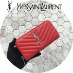 YSL 358094-8 專櫃新品紅色原版魚子醬牛皮原廠五金長款拉鏈錢包