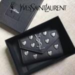 YSL 447954 潮流新款愛心裝飾黑色原版牛皮信封式卡包零錢袋