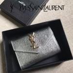 YSL 447954-4 潮流百搭新品閃亮銀原版鑽石紋牛皮信封式卡包零錢袋
