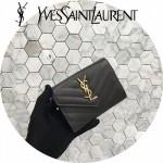 YSL 414404-4 輕便小巧黑色原版魚子醬皮金扣信封式卡包零錢袋