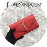 YSL 437469-5 人氣熱銷新款紅色原版牛皮信封式長款錢包