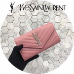 YSL 437469-10 人氣熱銷新款粉色原版牛皮信封式長款錢包
