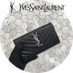 YSL 437469-8 人氣熱銷新款黑色原版牛皮信封式長款錢包