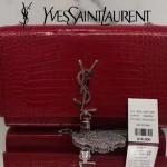 YSL 354119-6 時尚新品紅色原版鱷魚紋牛皮單肩斜挎包晚宴包