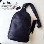 COACH-71751 專櫃新款版頭層牛皮背面透氣尼龍布時尚潮流男士胸包
