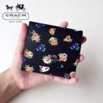 COACH-F57642 新款小黑花朵女士潮流三折短款錢包