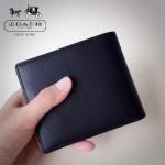 COACH-74771 經典黑色純皮硬幣袋男士短款錢夾