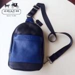 COACH-71751-2 專櫃新款版頭層牛皮背面透氣尼龍布時尚潮流男士胸包