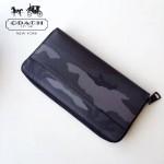 COACH-F75099 新品潮男迷彩拼棕色皮YKK拉鏈容量大隔層多長款錢包