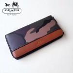 COACH-F75099-2 新品潮男迷彩拼棕色皮YKK拉鏈容量大隔層多長款錢包