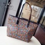 COACH-57888 新款花朵系列清新亮麗色彩斑斕購物袋媽咪包