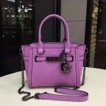 COACH-57332 小號最新專櫃限量款紫色花朵swagger27 獨特山茶花掛飾全真皮女士手提單肩斜挎包