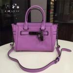 COACH-57331 中號最新專櫃限量款紫色花朵swagger27 獨特山茶花掛飾全真皮女士手提單肩斜挎包