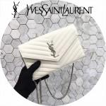 YSL 360452-9 潮流新款女士白色原版牛皮信封式單肩斜挎包