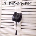YSL 395827 潮流新品黑色原版鱷魚紋牛皮單肩斜挎包水桶包