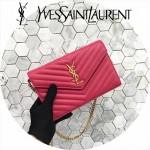 YSL 360452-13 潮流新款女士桃紅色原版牛皮信封式單肩斜挎包