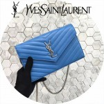 YSL 360452-14 潮流新款女士藍色原版牛皮信封式單肩斜挎包