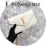 YSL 360452-10 潮流新款女士白色原版牛皮金扣信封式單肩斜挎包