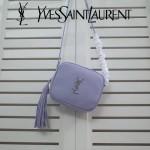 YSL 425317L-3 春夏新款淡紫色原版牛皮流蘇裝飾單肩斜跨包可放6plus