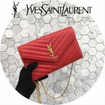 YSL 360452-11 潮流新款女士紅色原版牛皮信封式單肩斜挎包