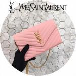 YSL 360452-12 潮流新款女士粉色原版牛皮信封式單肩斜挎包