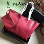 YSL 354195 輕便實用新款玫紅色原版軟牛皮單肩購物袋子母包