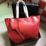 YSL 354195-2 輕便實用新款紅色原版軟牛皮單肩購物袋子母包