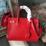 YSL 03768-3 白領必備單品紅色原版鱷魚紋牛皮手提單肩包風琴包