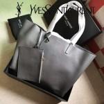 YSL 354195-4 輕便實用新款灰色原版軟牛皮單肩購物袋子母包