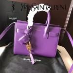 YSL 340778N-2 潮流百搭新款紫色原版南非牛皮手提單肩包小號風琴包