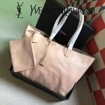 YSL 354195-3 輕便實用新款杏色原版軟牛皮單肩購物袋子母包
