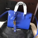 YSL 340778N-7 潮流百搭新款藍色原版南非牛皮手提單肩包小號風琴包
