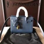 YSL 340778N 潮流百搭新款深藍色原版南非牛皮手提單肩包小號風琴包