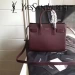 YSL 340778N-4 潮流百搭新款棗紅色原版南非牛皮手提單肩包小號風琴包