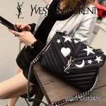 YSL 392737-3 時尚新款星星月亮裝飾黑色原版山羊皮單肩斜挎包