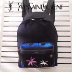 YSL 093-2 潮流個性徽章珠片黑色帆布配原版牛皮休閒雙肩包書包